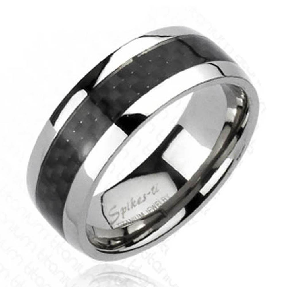 Solid Titanium Carbon Fiber Inlay Band Ring