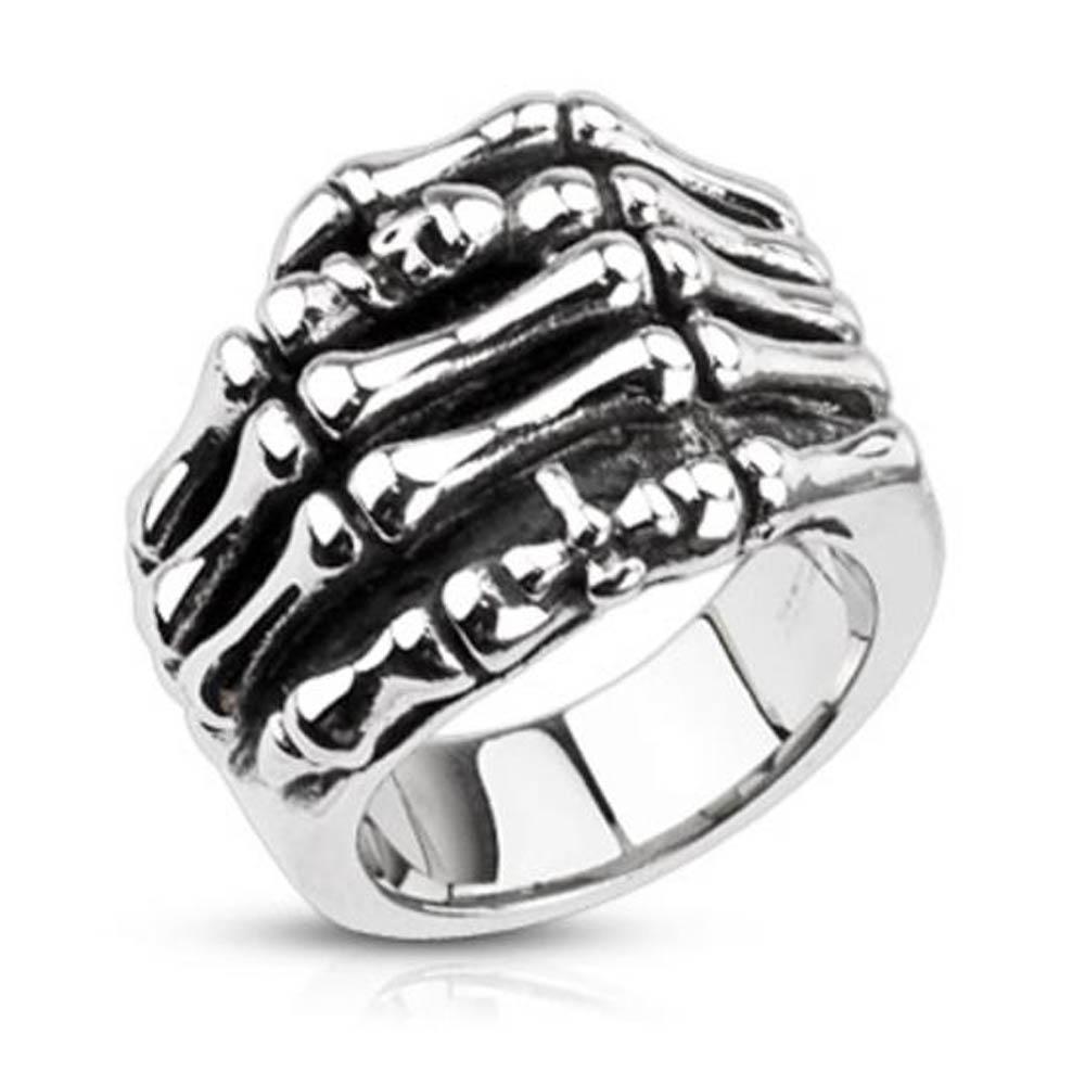 Stainless Steel Skeleton Hand with Skull & Cross Cast Ring