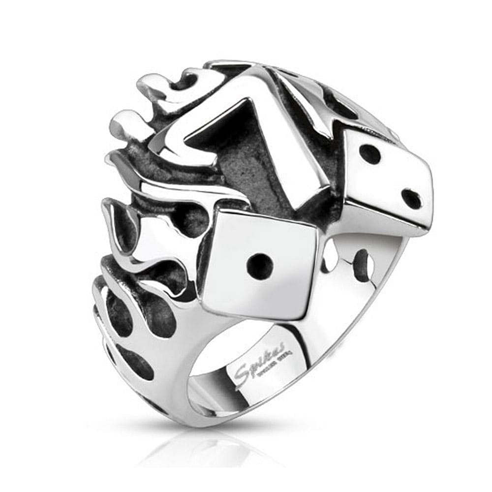 Flaming Lucky Seven With Dice Cast Stainless Steel Ring