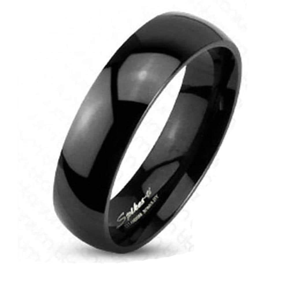 Black Plated Solid Titanium 6mm Wide Glossy Mirror Polished Traditional Wedding Band Ring