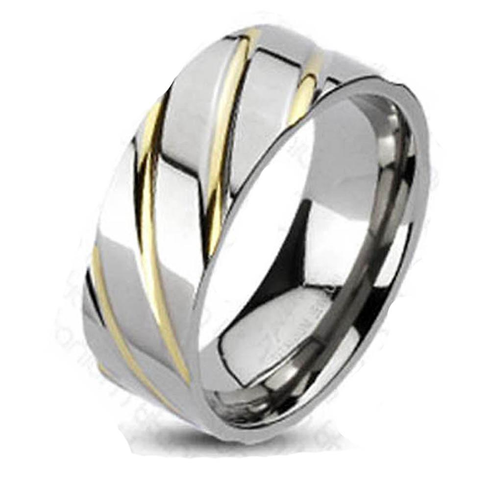 Solid Titanium Diagonal Multi-Groove Gold Plated Band Ring