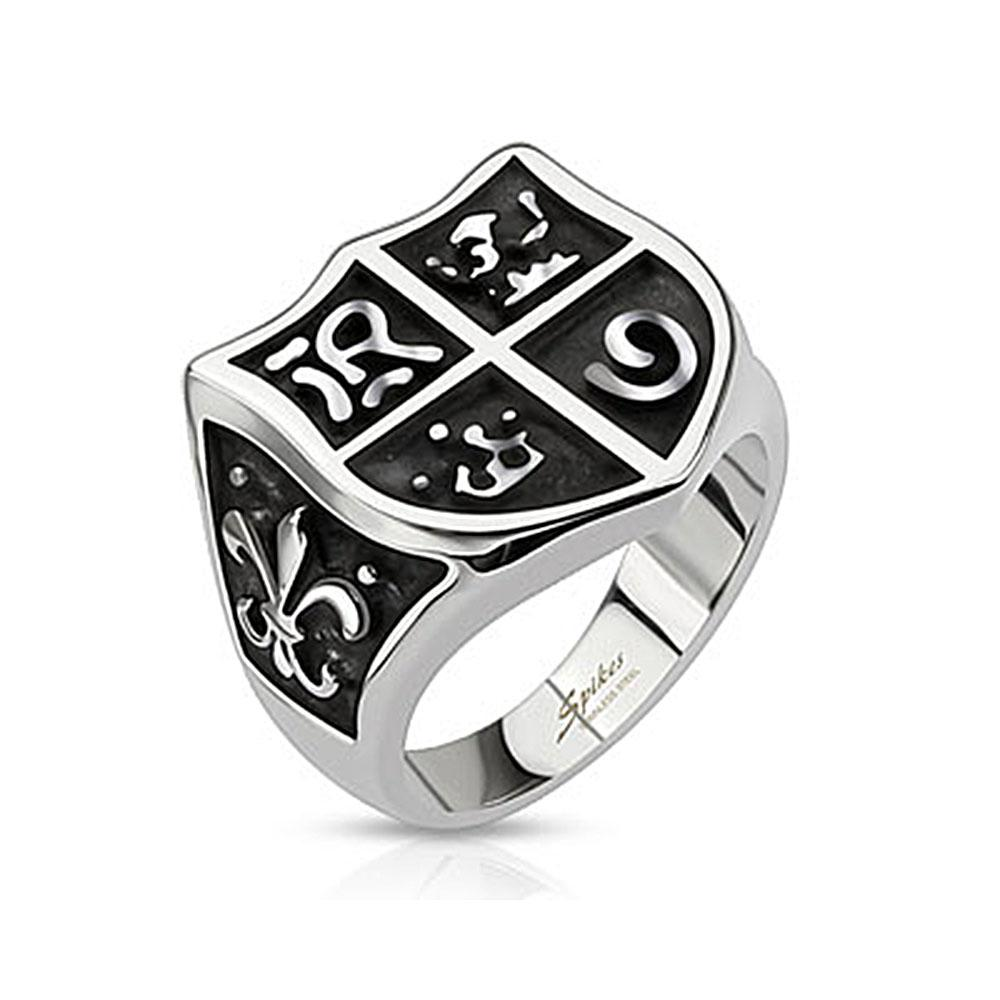 Medieval Shield and Fleur de Lis Wide Cast Stainless Steel Ring