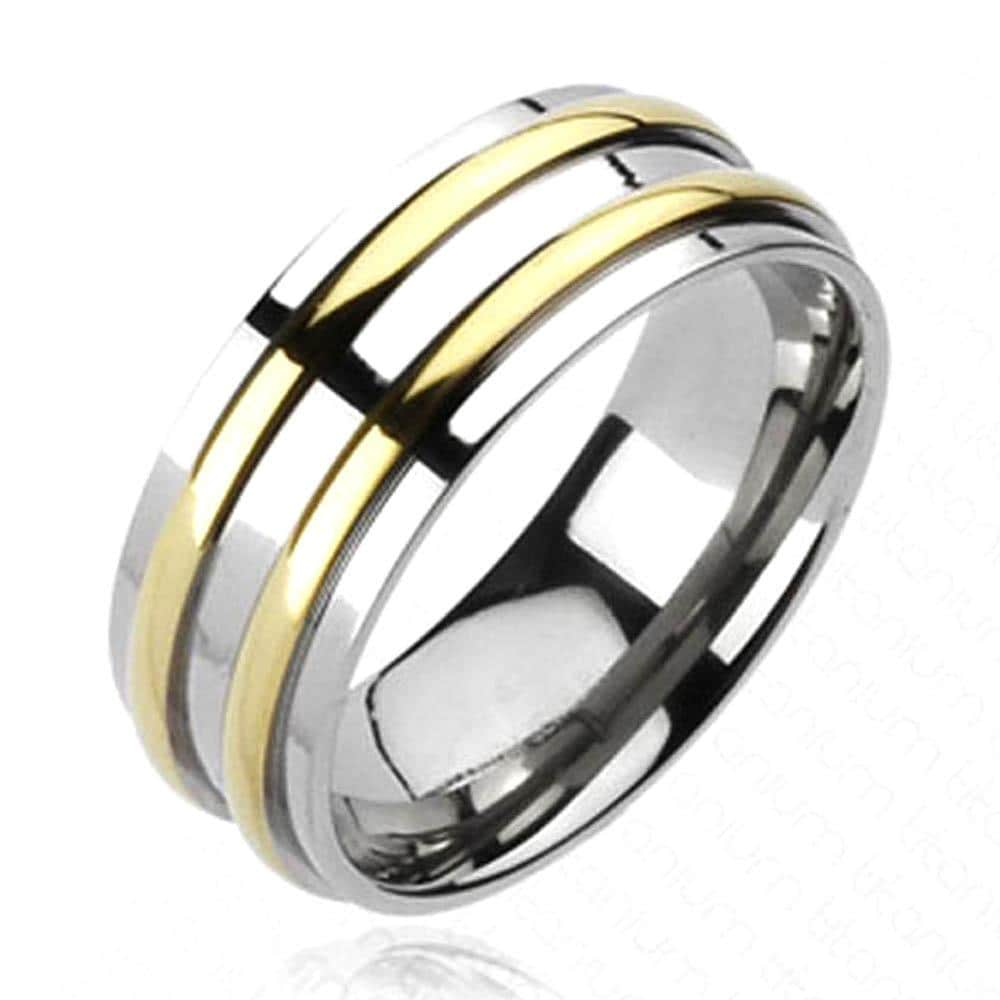 Solid Titanium Double Gold Plated Round Stripe Band Ring