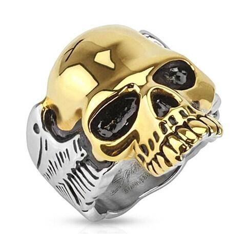 Skull Gold IP Two Tone Biker Stainless Steel Ring