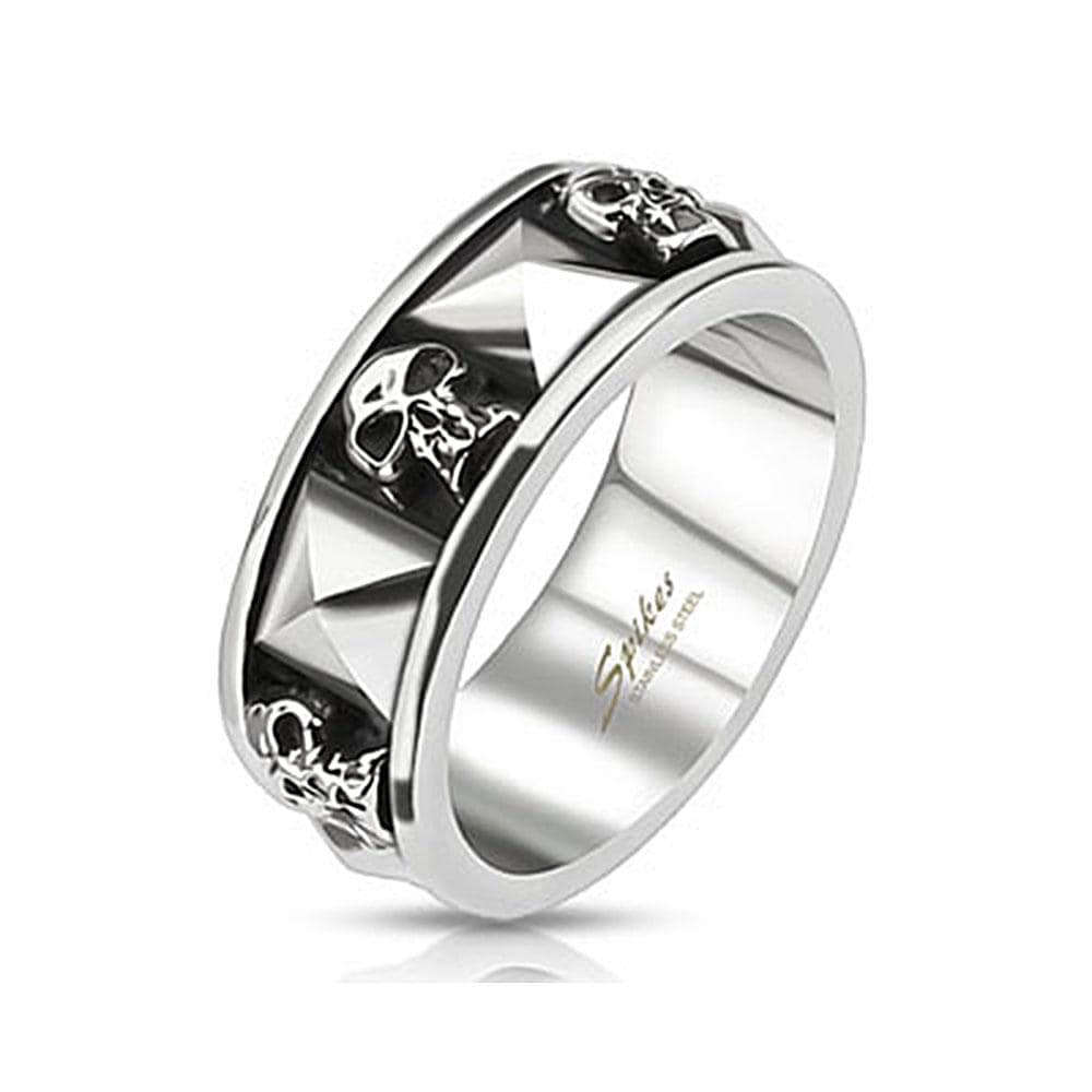 Skull and Pyramid Combination Cast Band Stainless Steel Ring