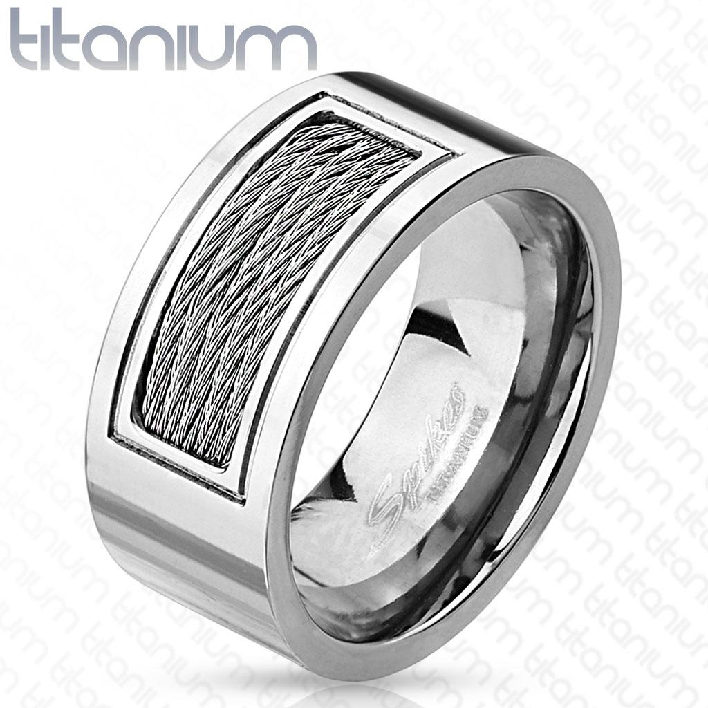Wired Cables Inlayed Titanium Ring - Thumbnail 0