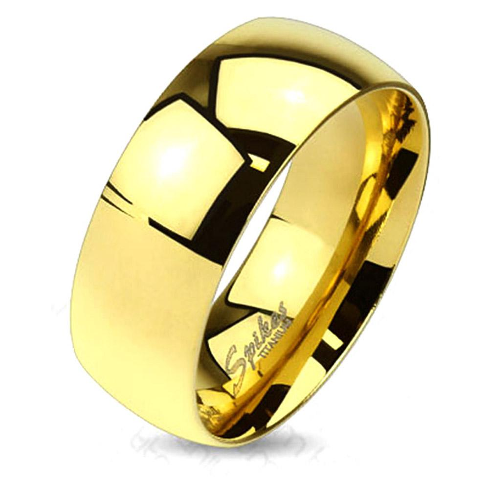 Classic Gold IP Solid Titanium Band Ring