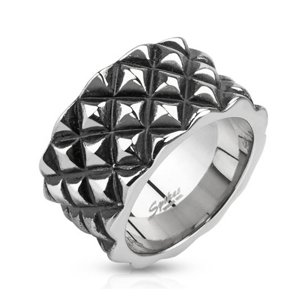 Diamond Scale Patterned Cast Stainless Steel Ring