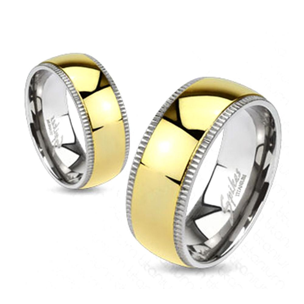 Grooved Solid Titanium Edges with Gold IP Dome Center Band Ring