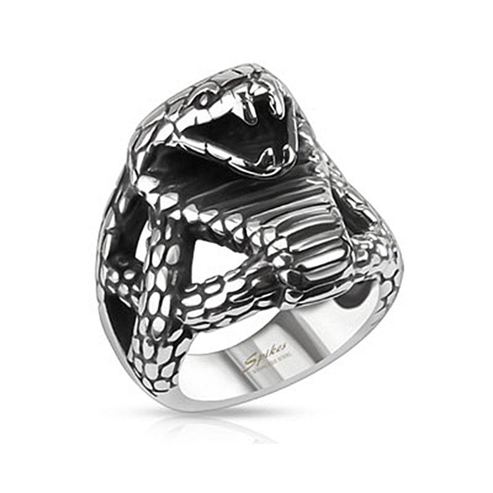 Fierce Cobra Wide Cast Stainless Steel Ring