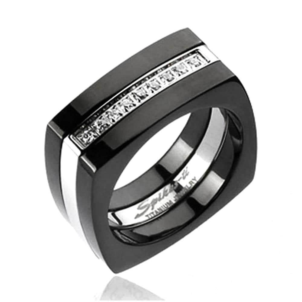 Solid Titanium 2-Tone Black Plated Multi-CZ Square Ring