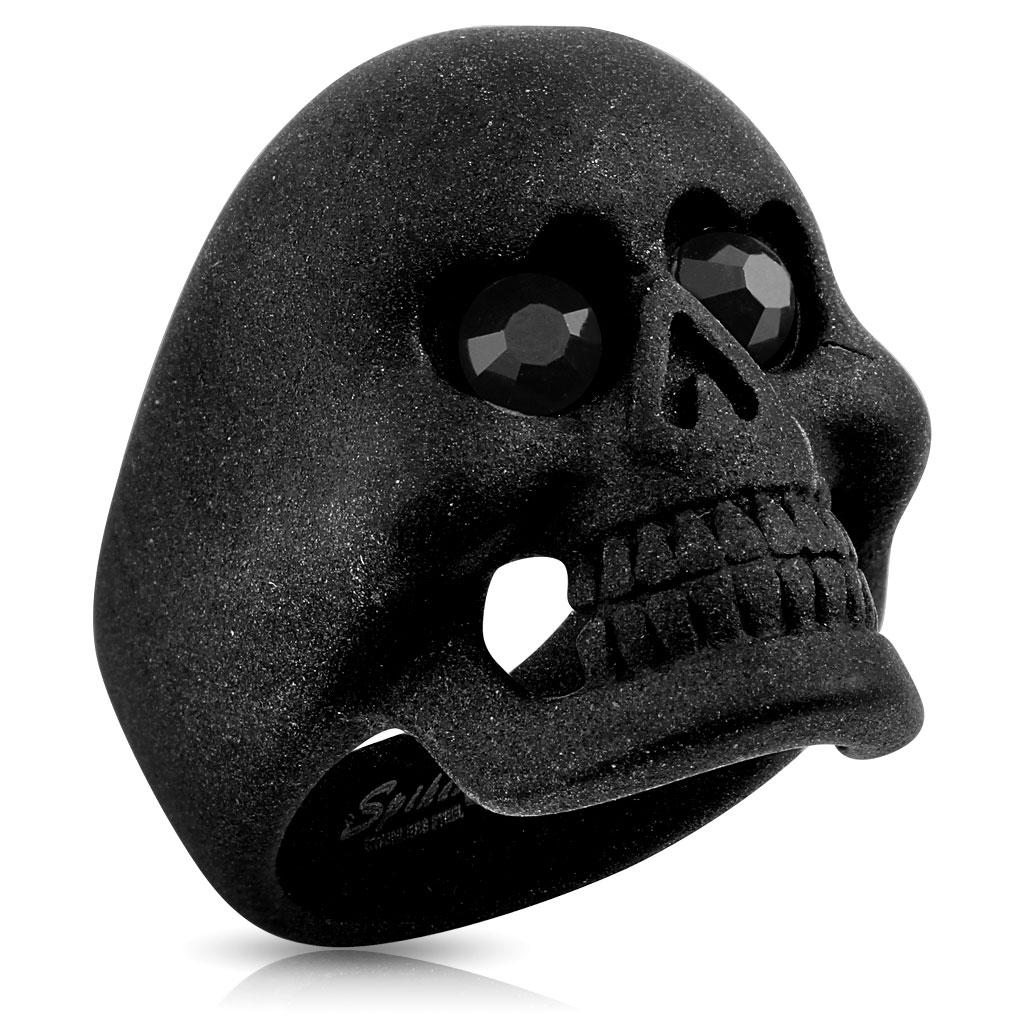 Matte Black Skull With CZ Heart Eyes Stainless Steel Ring