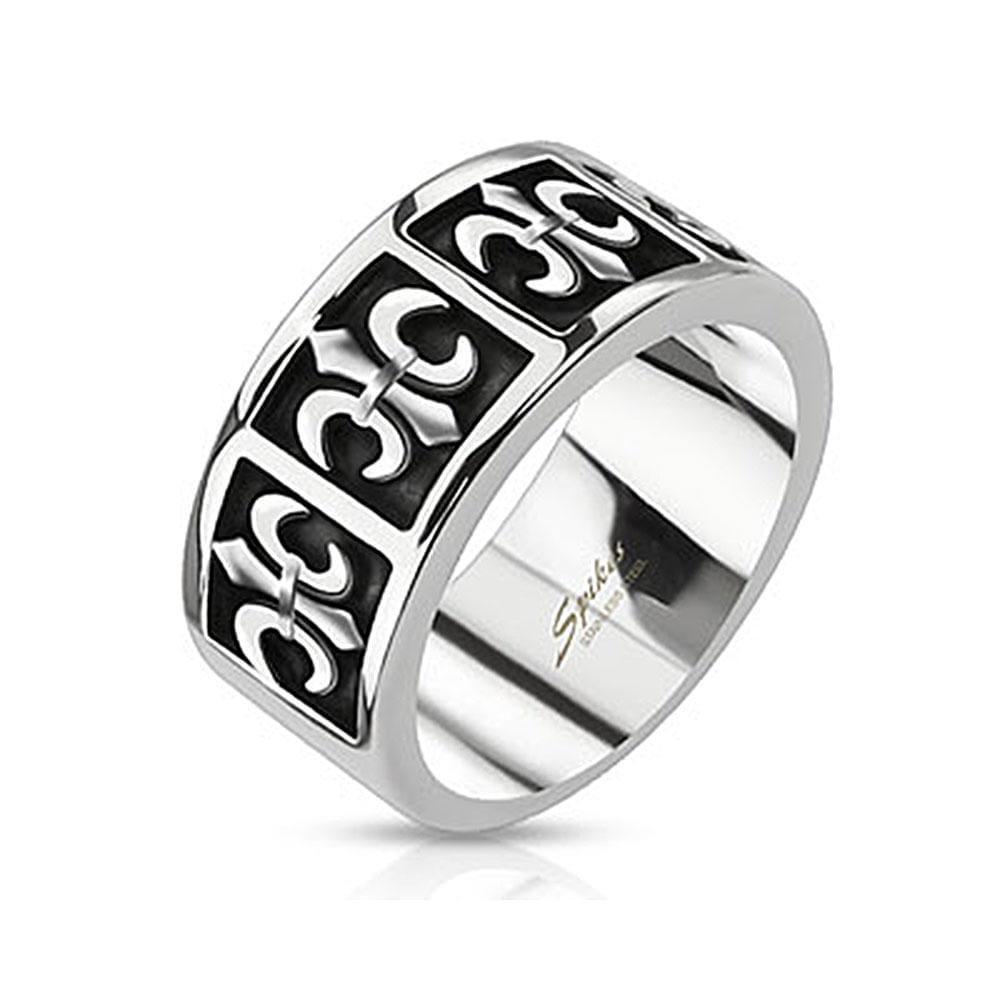 Five Royal Fleur De Lis Cast Band Stainless Steel Ring