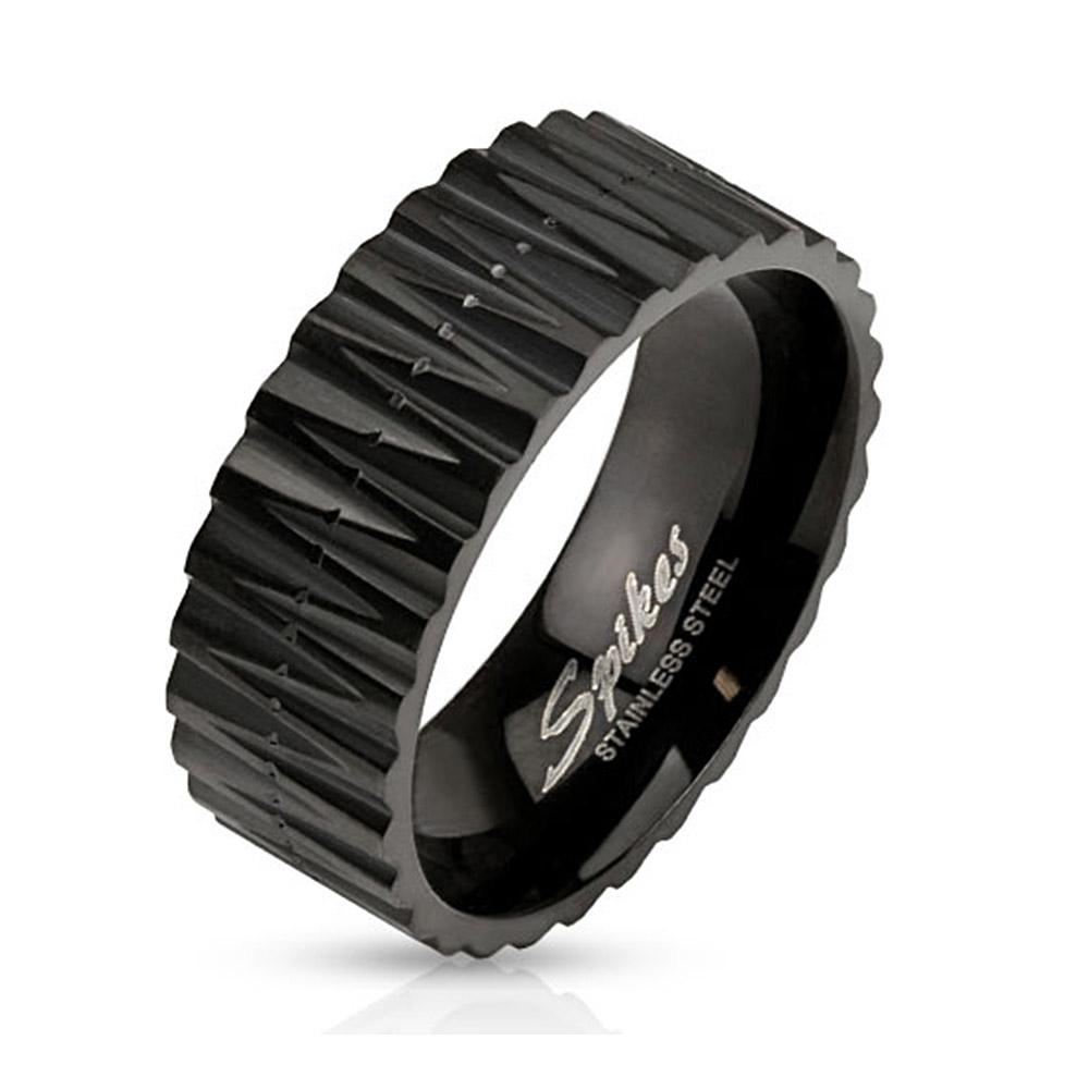 Zigzag Cut Black IP Band Stainless Steel Ring