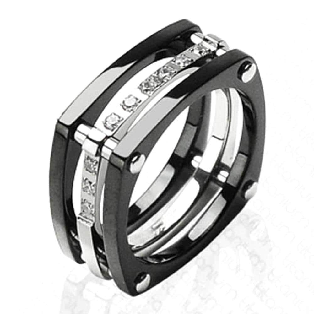 Solid Titanium with Plated Black and CZ Stones Ring