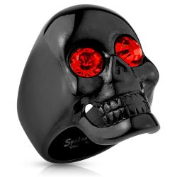 Glossy Surface Skull with Red Gem Eyes Black IP Stainless Steel Ring - Thumbnail 0