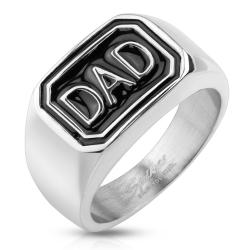 """DAD"" Stainless Steel Cast Ring - Thumbnail 0"
