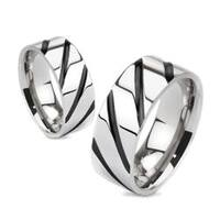 Striped Solid Black IP Titanium Band Ring