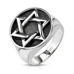 Star of David Medallion Cast Stainless Steel Ring - Thumbnail 0