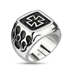 Celtic Cross Plate with Flames Wide Cast Stainless Steel Ring - Thumbnail 0