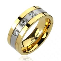 Solid Titanium Gold Plated Edges 2-Tone Brushed Center with 3 CZs Ring - Thumbnail 0