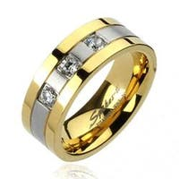 Solid Titanium Gold Plated Edges 2-Tone Brushed Center with 3 CZs Ring