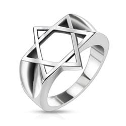 Hollow Star of David Wide Cast Stainless Steel Ring - Thumbnail 0