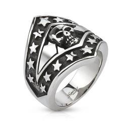 Patriotic Skull Shield Cast Stainless Steel Ring - Thumbnail 0