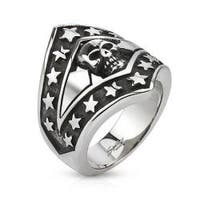 Patriotic Skull Shield Cast Stainless Steel Ring