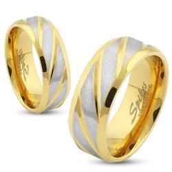 Diagonal Striped Gold IP Stainless Steel Ring - Thumbnail 0