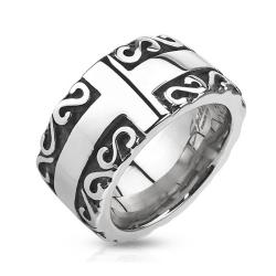 Cross with Tribal Patterned Edge Cast Stainless Steel Ring - Thumbnail 0