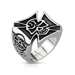 Lucky 13 Skull Cut Out of Celtic Cross Wide Cast Stainless Steel Ring