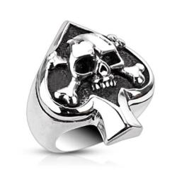 Stainless Steel Spade Ace Crossbone Death Skull Cast Ring - Thumbnail 0