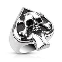 Stainless Steel Spade Ace Crossbone Death Skull Cast Ring