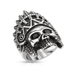 Apache Headress Skull with Black Gemmed Eyes Wide Cast Stainless Steel Ring - Thumbnail 0