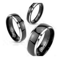 Two Tone Solid Titanium Dome Band Ring with Black IP Center