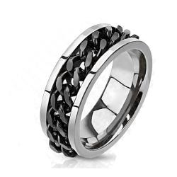 Solid Titanium Ring with Black IP Chain - Thumbnail 0