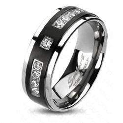 Solid Titanium Black Plated Center with Multi-CZs Band Ring