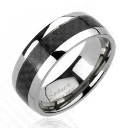 Solid Titanium Carbon Fiber Inlay Band Ring - Thumbnail 0