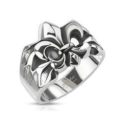 Crashed Fleur De Lis Cast Stainless Steel Ring - Thumbnail 0