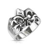 Crashed Fleur De Lis Cast Stainless Steel Ring