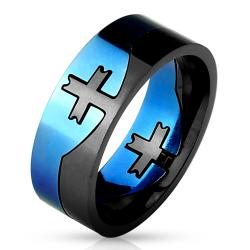 Cross Center Blue and Black 2-Tone Puzzle Ring 316L Stainless Steel