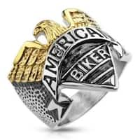 "Eagle with ""American Biker"" Engraving Stainless Steel Cast Ring"