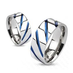 Striped Solid Blue IP Titanium Band Ring - Thumbnail 0