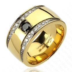 Solid Titanium Gold Plated Crescent Design Multi-CZs Band Ring