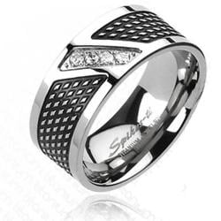 Solid Titanium Black Plated with 4 CZs Modern Band Ring - Thumbnail 0