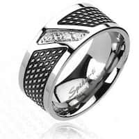 Solid Titanium Black Plated with 4 CZs Modern Band Ring
