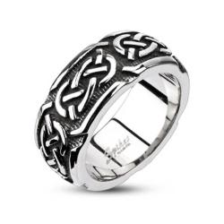 Stainless Steel Continuous Celtic Cast Band Ring - Thumbnail 0