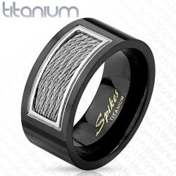 Wired Cables Inlayed Black IP Titanium Ring