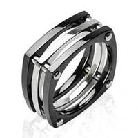 Solid Titanium with Plated Black Squared with Bolts Ring